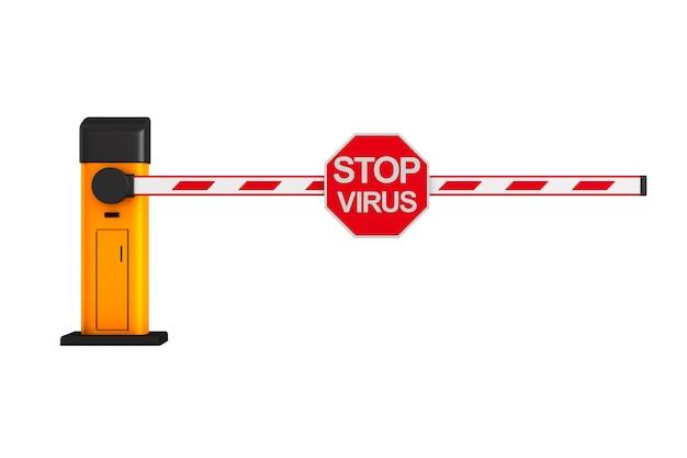 Automatische barriere mit schildstoppvirus auf weiß.