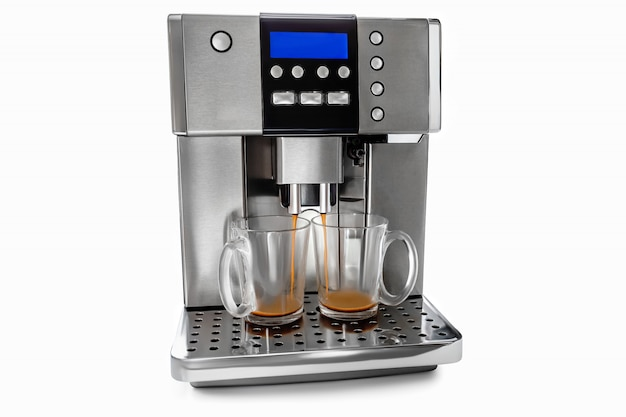 Automatische kaffeemaschine für zwei tassen kaffee