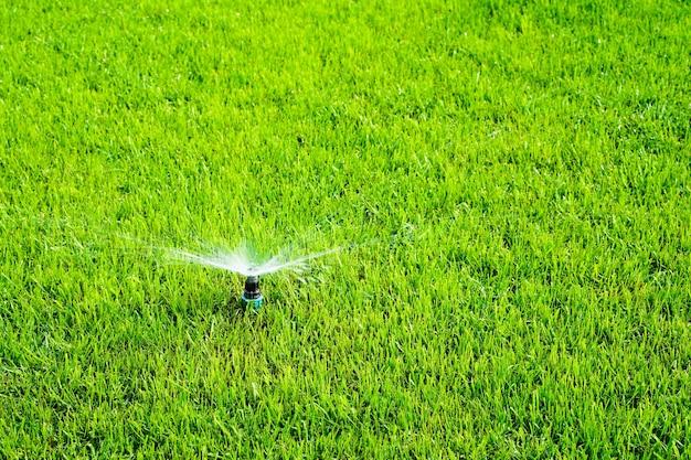 Automatische sprinkleranlage, die den rasen auf einem hintergrund von grünem gras bewässert. foto in hoher qualität