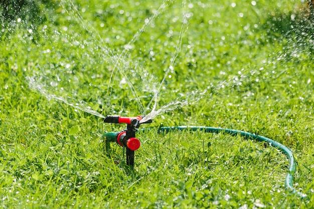 Automatische sprinklerbewässerung im garten