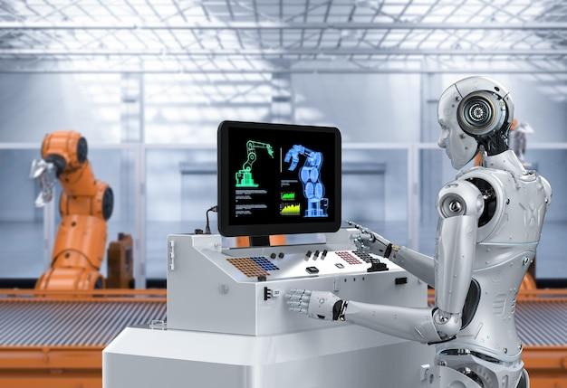 Automatisierungsfabrikkonzept mit 3d-rendering-cyborg in der fabrik