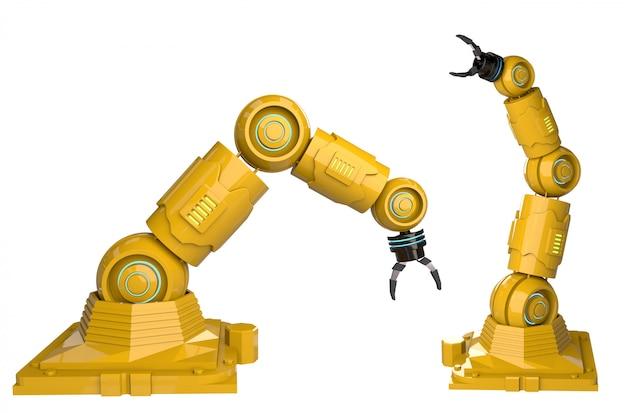 Automatisierungsindustriekonzept mit roboterarmen der wiedergabe 3d auf weißem hintergrund