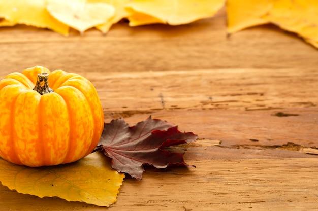 Autumn thanksgiving background mit orange kürbisen und gefallenen blättern auf holztisch