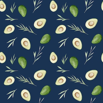 Avocados nahtloses muster. gesundes essen. nahtloses muster der aquarellhandzeichnung.