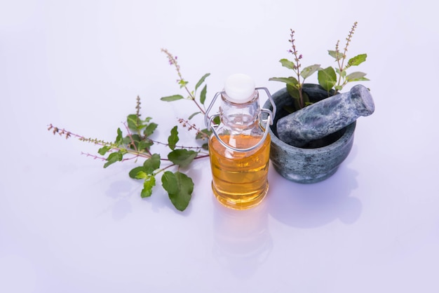 Ayurvedisches tulsiöl, kräuterkönigin-extrakt in glasflasche mit frischen grünen basilikumzweigen und mörser mit stößel. getrennt über buntem hintergrund. selektiver fokus