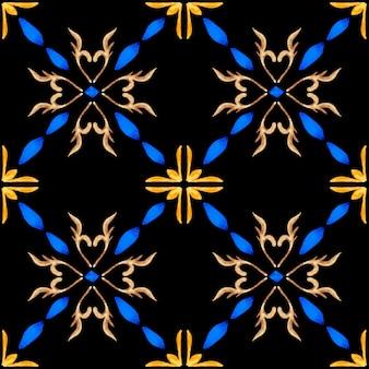 Azulejo aquarell nahtlose muster. traditionelle portugiesische keramikfliesen. handgezeichneter abstrakter hintergrund. aquarellgrafik für textilien, tapeten, druck, badebekleidungsdesign. schwarzes azulejo-muster.