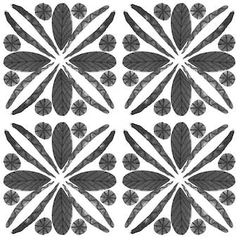 Azulejo aquarell nahtlose muster. traditionelle portugiesische keramikfliesen. handgezeichneter abstrakter hintergrund. aquarellgrafiken für textilien, tapeten, druck, badebekleidungsdesign. graues azulejo-muster.