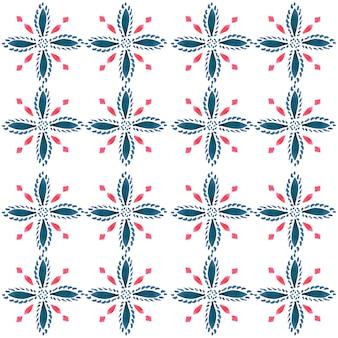 Azulejo aquarell nahtlose muster. traditionelle portugiesische keramikfliesen. handgezeichneter abstrakter hintergrund. aquarellgrafiken für textilien, tapeten, druck, badebekleidungsdesign. rotes azulejo-muster.