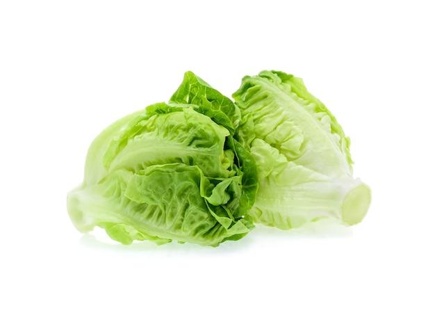 Baby cos (salat) lokalisiert auf weiß