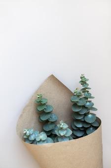 Baby-eukalyptus in handwerklichem blumenpapier auf beigem tisch. moderne, trendige pflanze, innendekoration im minimal-skandinavischen stil. draufsicht, kopierraum. weicher selektiver fokus. konzept blumenlieferung. vertikal.