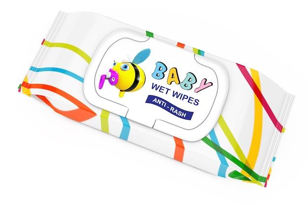 Baby-feuchttücher-paket auf weißem hintergrund. 3d-rendering