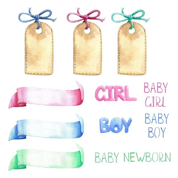 Baby kindergarten vorlage band titel label leer aquarell set