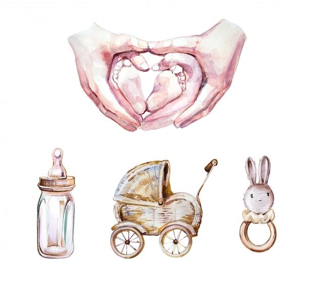 Baby kinderwagen, flasche und hase spielzeug illustration