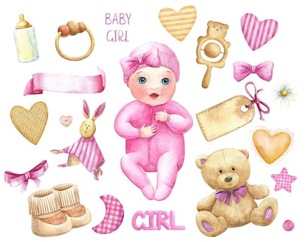 Baby mädchen aquarell set zeug spielzeug titeletikett rosa niedlichen charakter aquarell bundle kindergarten set