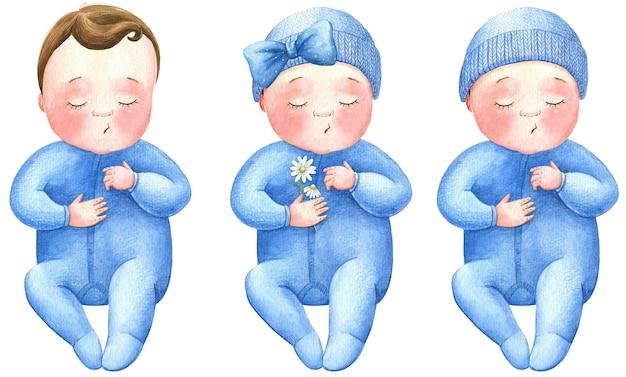 Baby schläft neugeborenes kindergarten aquarell illustration