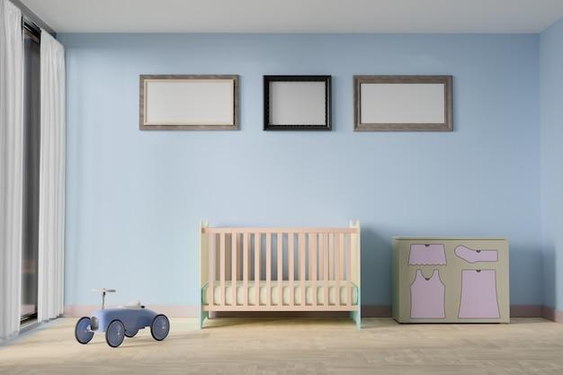 Baby schlafzimmer mit bilderrahmen