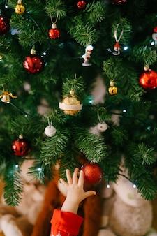 Babys hand, die nach einem roten weihnachtsschmuck auf einem weihnachtsbaum greift. hochwertiges foto