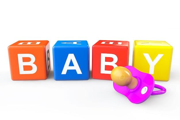 Babywürfel mit schnuller auf weißem hintergrund