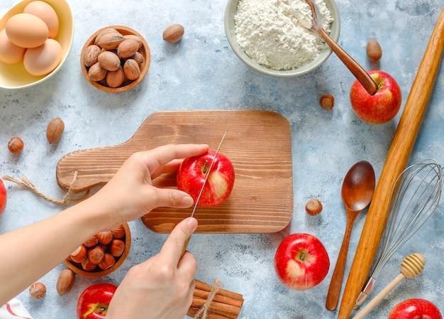 Backenkonzept des herbstapfelkuchens