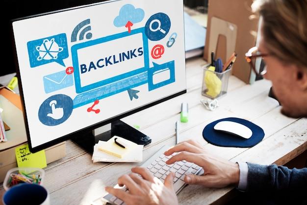 Backlink hyperlink networking internet online technologiekonzept internet