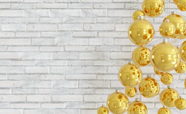 Backsteinmauer mit weihnachtskugeln