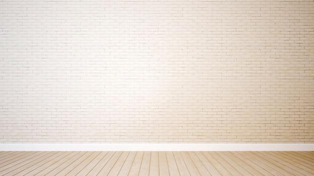 Backsteinmauer und holzfußboden im raum für gestaltungsarbeit - wiedergabe 3d