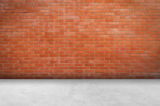 Backsteinmauerraum und -bodenhintergrund und -beschaffenheit mit kopienraum.
