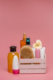 Badeaccessoires, tägliches körperpflegekonzept, bio-badeprodukte.