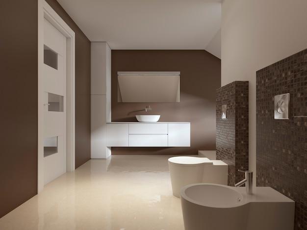 Badezimmer im zeitgenössischen stil in braunen und weißen farben. 3d-rendering.