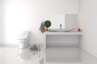 Badezimmer Innenraum - weißes leeres Raumkonzept - moderner Stil. 3D-Rendering