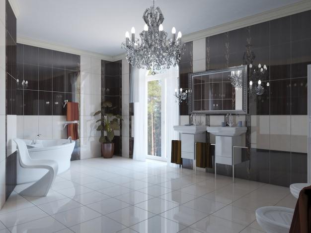 Badezimmer, innenvisualisierung, 3d-illustration