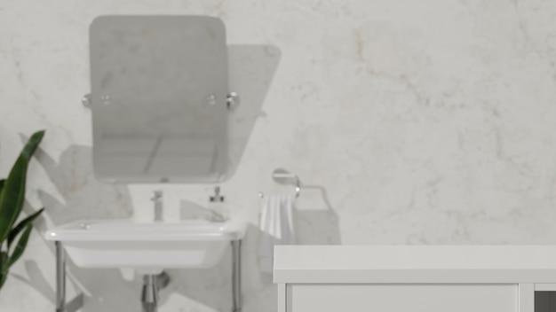 Badezimmer weiße tischplatte für die montage ihres produkts in der modernen 3d-darstellung des loft-badezimmers