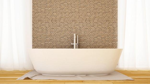Badezimmerbacksteinmauer verzieren im haus oder in der wohnung