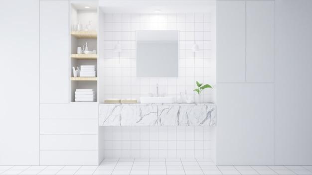 Badezimmerinnenraum mit weißer wand, modernen möbeln, blume und illustration der wanne 3d