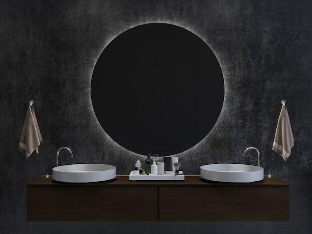 Badezimmerinnenraum mit zwei runden spiegeln der waschbecken auf einem dunklen wandhintergrund 3d-rendering-modell