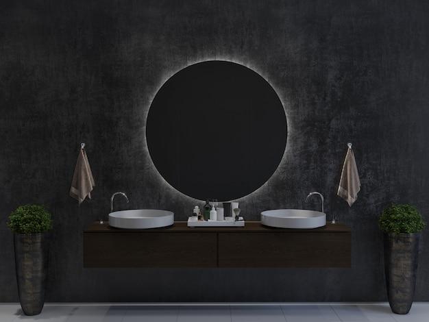 Badezimmerinnenraum mit zwei waschbecken auf einem holzschrank, rundem spiegel, handtüchern und topfpflanzen auf dunklem wandhintergrund. 3d-rendering-modell.