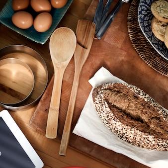 Bäckerei-backenkoch-ei-gebäck-bestandteil-konzept
