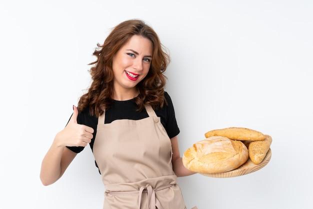 Bäckerfrau über lokalisierter wand