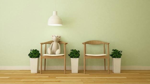 Bärnpuppe im kinderraum oder im café - wiedergabe 3d
