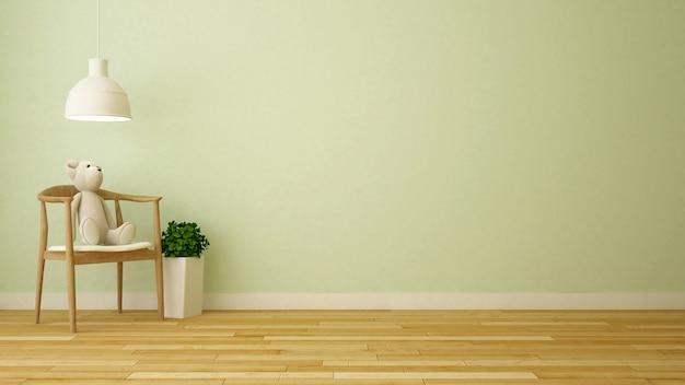Bärnpuppe im kinderraum oder im wohnzimmer - wiedergabe 3d