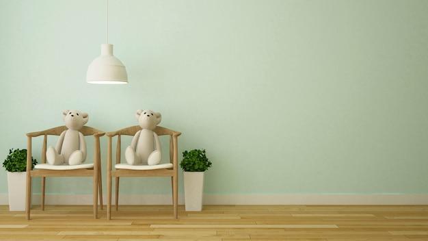 Bärnpuppe im kinderraum oder in der kaffeestube - wiedergabe 3d