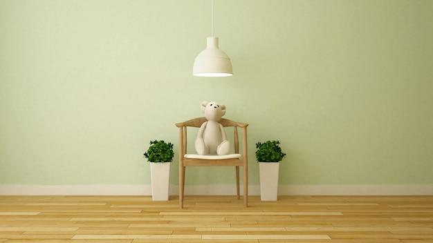 Bärnpuppe im wohnzimmer oder im kinderraum - wiedergabe 3d