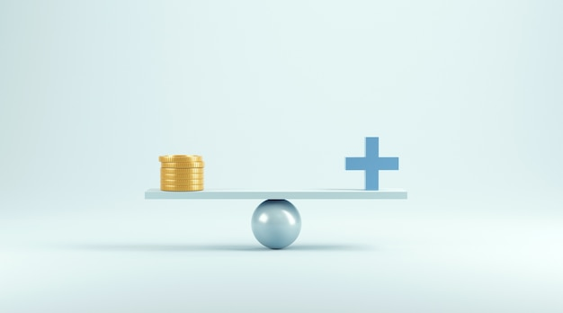 Balance von geld und medizinischem bild auf blau.