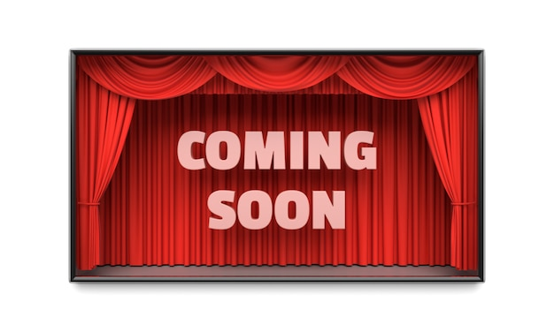 Bald kommen plakat mit roter illustration der bühnenvorhänge 3d