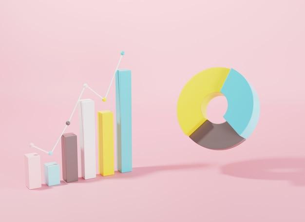 Balken- und donut-diagramm-diagramm-wachstumsdiagramm infografik-elemente 3d-rendering-darstellung