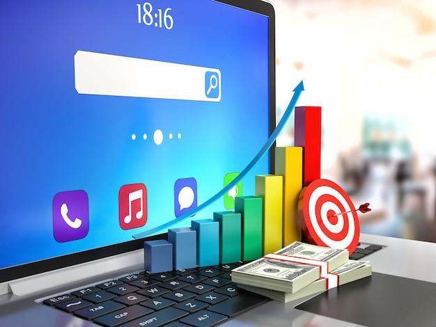 Balkendiagramm und dollar auf laptop-tastatur
