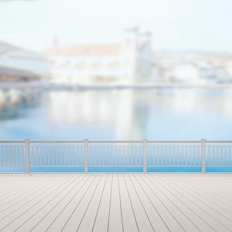 Balkon und terrasse mit verschwommenem äußerem