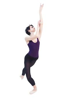 Ballerina tanzt auf einem weißen isolat