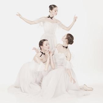 Ballerinas posieren im romantischen kleid