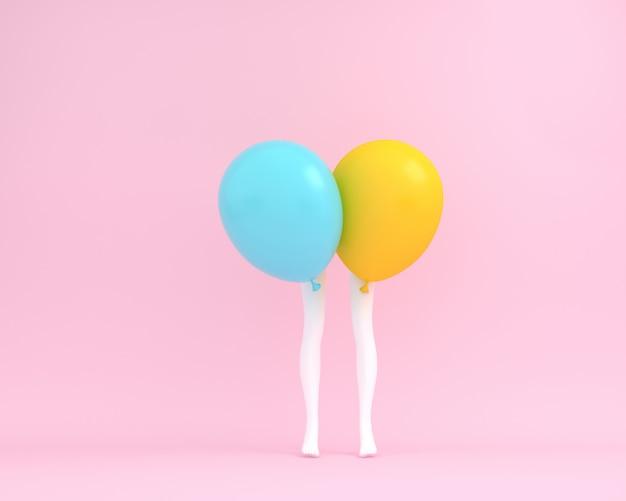 Ballone blauer und gelber pastell mit weißer beinfrau auf rosa hintergrund.